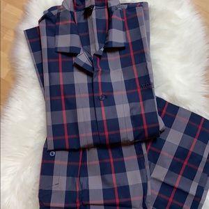 Hugo Boss Navy & Red Windowpane Plaid Pajama Set